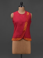 Red Cotton Hand Block Printed Top - 9rasa
