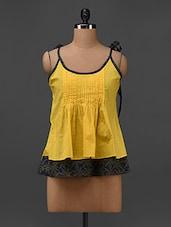 Yellow Cotton Pleated Hand Block Printed Top - 9rasa