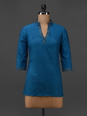 Blue Cotton Hand Block Printed Tunic - 9rasa