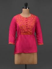 Pink Cotton Viscose Hand Block Printed Tunic - 9rasa