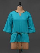Blue Cotton Viscose Hand Block Printed Tunic - 9rasa