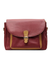 Maroon Textured Leatherette Sling Bag - La Volsa