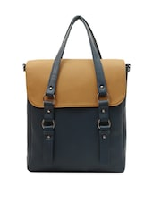 Dark Blue Textured Leatherette Handbag - La Volsa