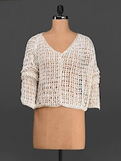 Off-white Front Buttoned Crochet Top - Rediscoverfashions