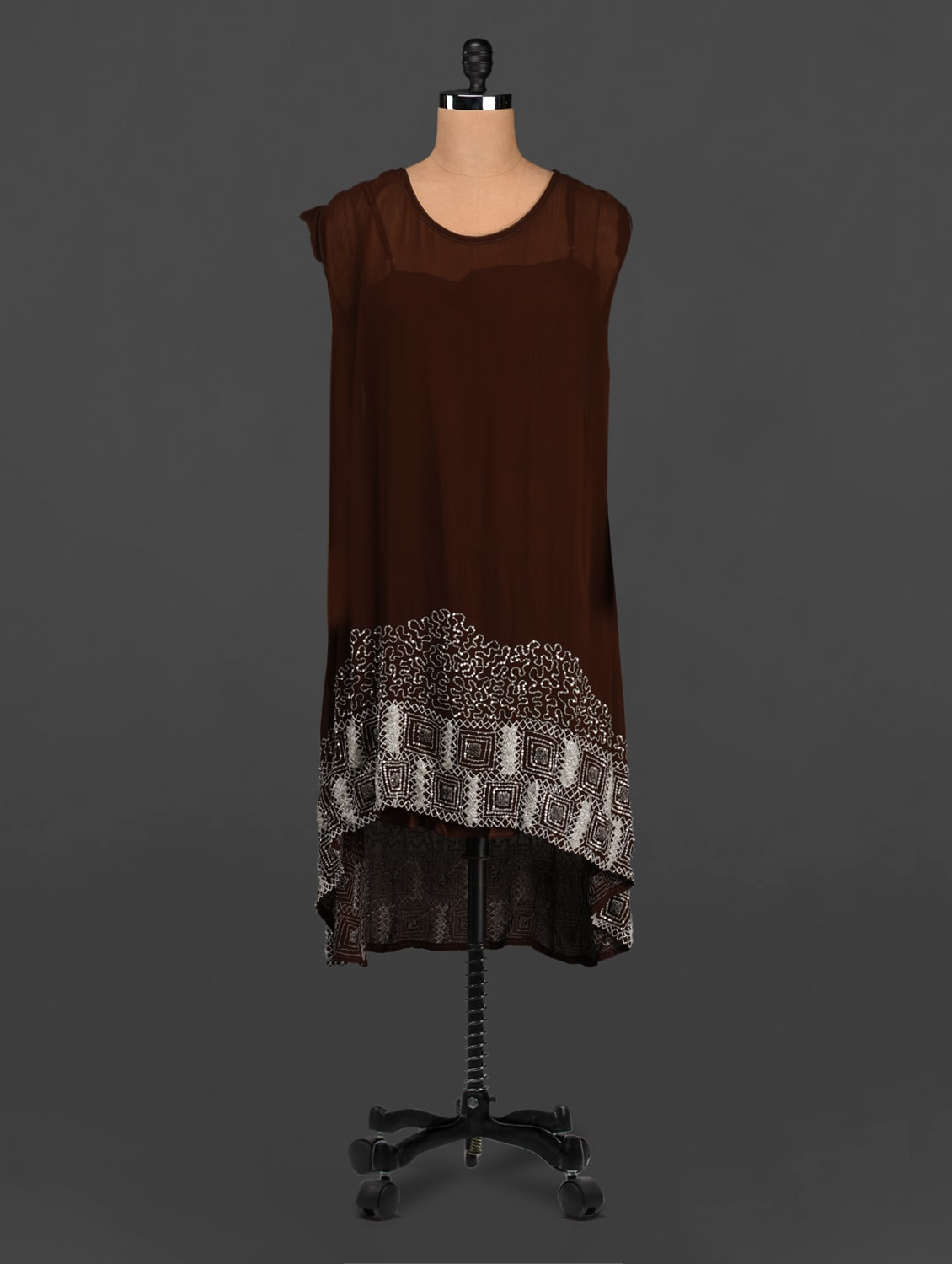 Brown Beads Embellished Asymmetric Dress - Rediscoverfashions