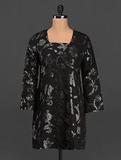 Black  Sequin Embellished Long Sleeves Kurti - Rediscoverfashions