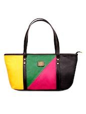 Colour Block Leatherette Handbag - FOSTELO