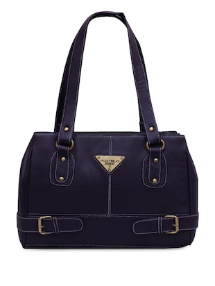 Blue front buckled strap faux leatherette handbag