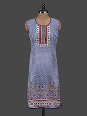 Printed Cotton Round Neck Sleeveless Kurti - Zara Deals
