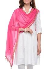 Pink Cotton Plain  Dupatta - By