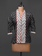Three-quarter Sleeve Printed Cotton Tunic Top - Meiro