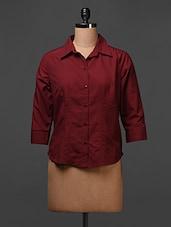 Polyester Maroon Plain Solid Shirt - Meiro