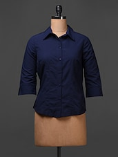 Navy Blue Polyester Plain Solid Shirt - Meiro