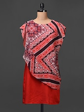 Crepe Dress With Georgette Printed Attached Cover-up - Meiro