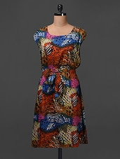 Cotton Printed Dress With Elastic Waist - Meiro