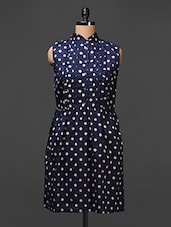 Polka Dotted Cotton Dress With Umpire Waistline - Meiro