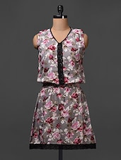 Floral Printed Crepe Dress With Crochet Lace - Meiro