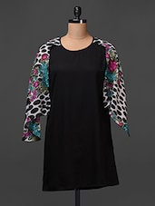 Solid Black Crepe Dress With Printed Georgette - Meiro