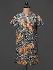Mandarin Collar Poly Crepe Dress - Meiro