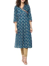 Blue Printed Cotton Straight Kurta - By