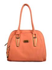 Solid Peach Faux Leather Handbag - BAGGO