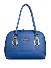 Solid Royal Blue Faux Leather Handbag - BAGGO
