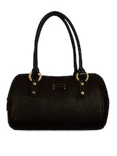 Structured Black Faux Leather Handbag - BAGGO
