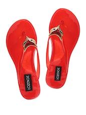 Red Embellished Rubber Flip Flops - LOZENGE