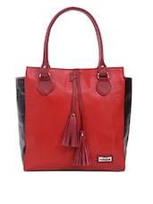 Maroon Shoulder Bag With Contrast Side Paneled - Adaira