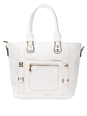 White Detachable Strap PU Handbag - ADISA