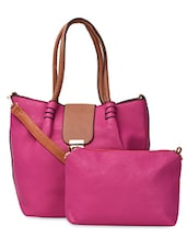 Contrast Handle & Flap PU Handbag - ADISA