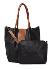 Black Contrast Handle & Flap PU Handbag - ADISA