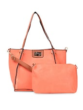 Orange PU Handbag With Detachable Sling - ADISA