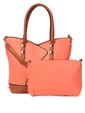 Trendy Orange Embellished PU Handbag - ADISA