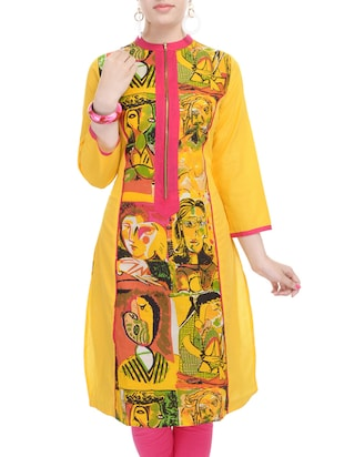 Cotton Printed Yellow Color kurta from the