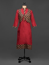 Cotton Kurti With Red Floral Koti - Rainbow Hues