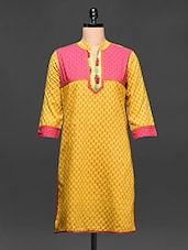 Printed Kurti With Pink Yoke - Rainbow Hues