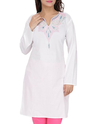 white cotton straight kurta