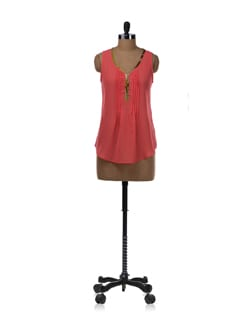 Coral Sleeveless Pleated Shirt - Tops And Tunics