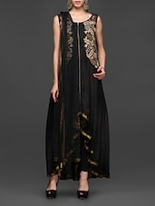 Embroidered Black Asymmetrical Anarkali Suit Set - Abhilasha And Abhishek
