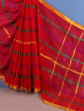 Pink Stripes Printed Cotton Saree - Aura