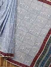 Traditional Block Print Cotton Saree - Fab Rajasthan