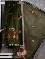 Floral Embroidered Sheer Net Saree - JBT