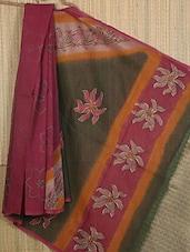 Floral Embroidered Pallu Thin Border Net Saree - JBT