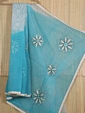 Gota Border Floral Embroidered Pallu Net Saree - JBT