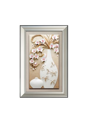 Hand Painted Large Flower Vase With Frame 3D Embossed Painting