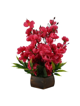 Artificial Cherry Blossom Flower Plant With Wood Pot