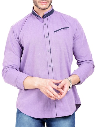purple cotton casual shirt