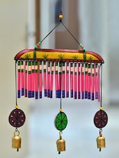 Wooden Multicolured Hand Painted Hanging Chime With Bell - ExclusiveLane