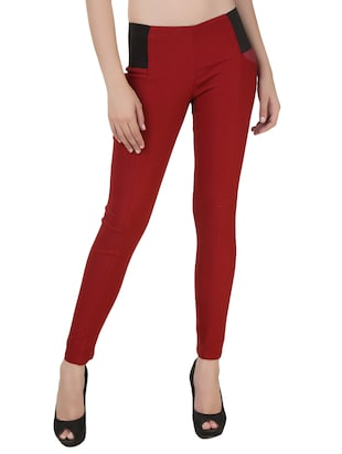 maroon cotton jeggings